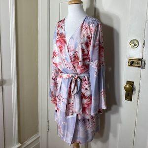 Soft Lavender Pink Floral Robe with Belt